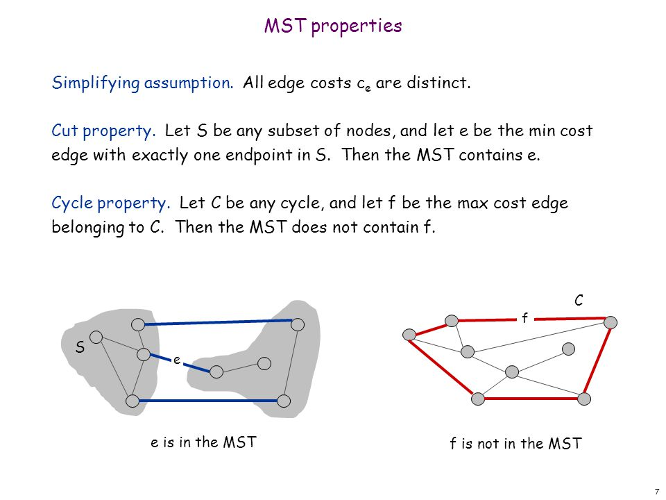 MST properties Simplifying assumption. All edge costs ce are distinct.