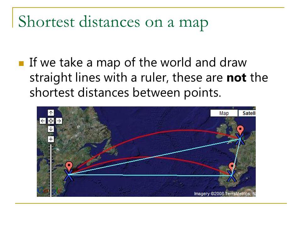 Shortest distances on a map