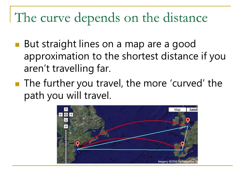 The curve depends on the distance