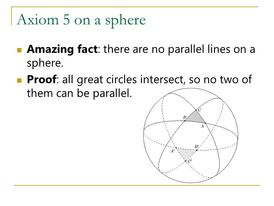 Axiom 5 on a sphere Amazing fact: there are no parallel lines on a sphere.