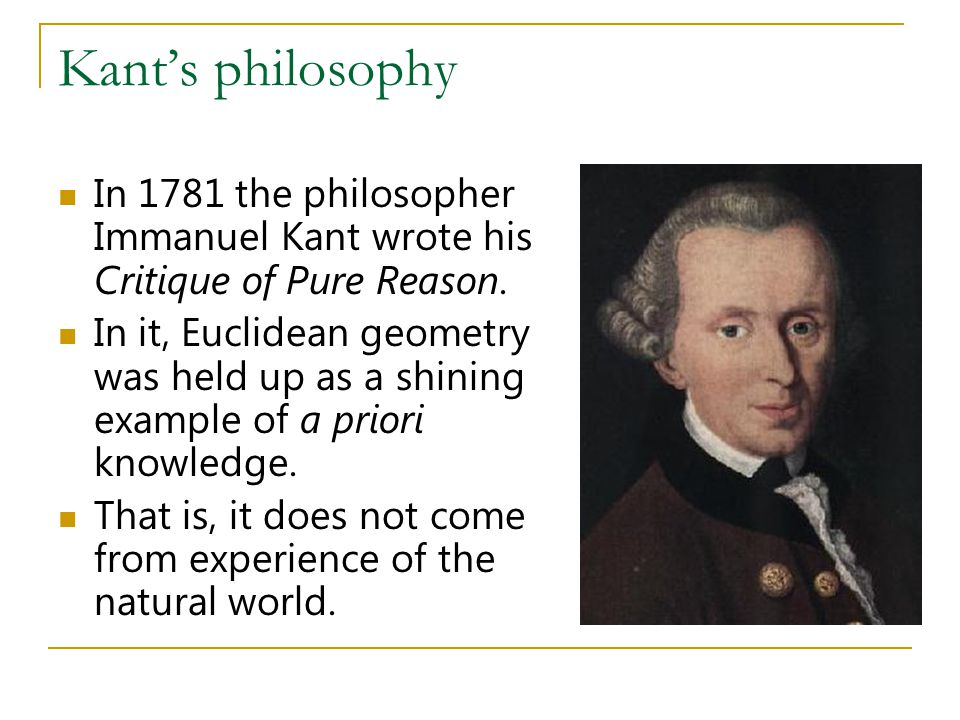 Kant's philosophy In 1781 the philosopher Immanuel Kant wrote his Critique of Pure Reason.