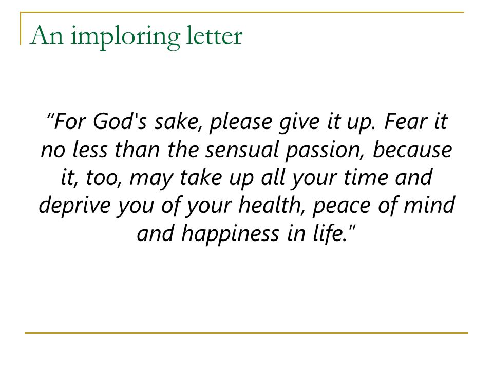 An imploring letter