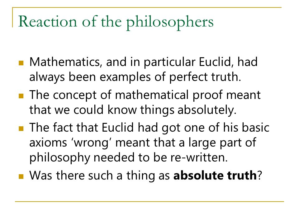 Reaction of the philosophers