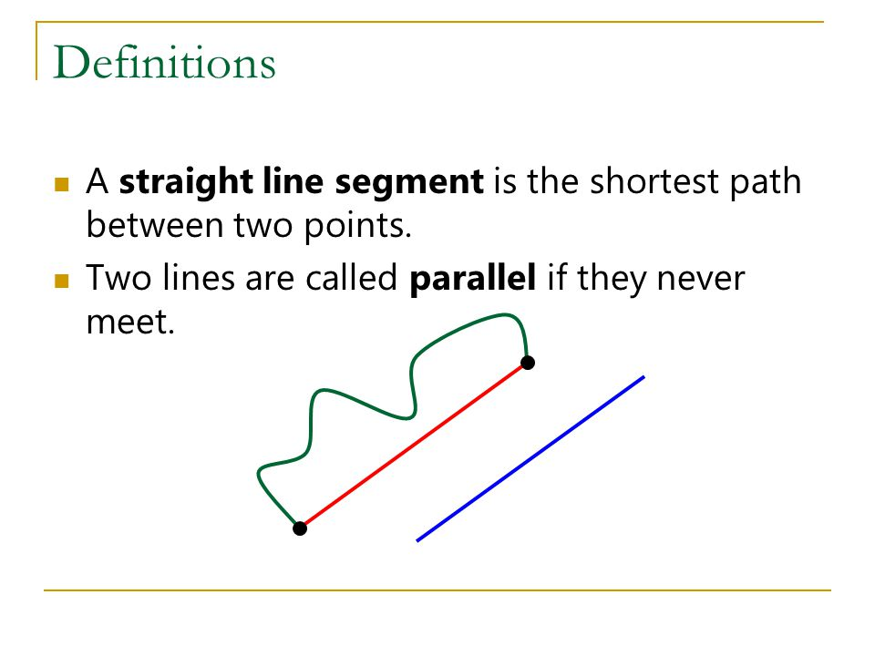 Definitions A straight line segment is the shortest path between two points.