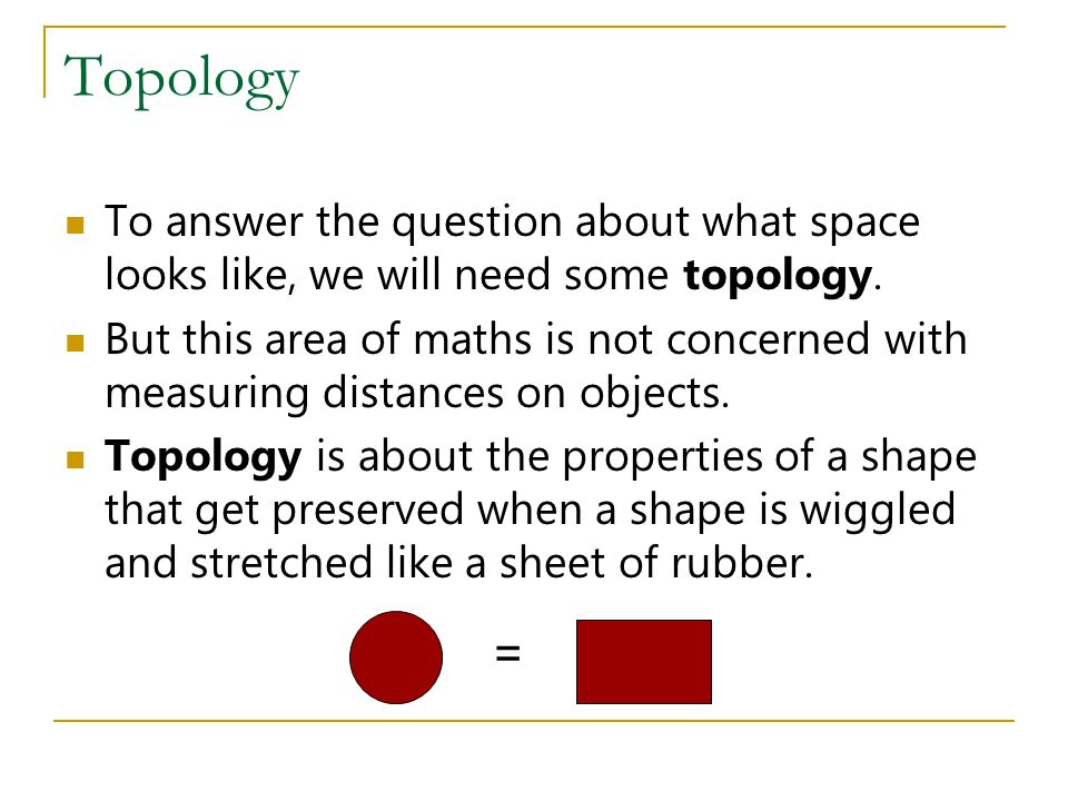 Topology To answer the question about what space looks like, we will need some topology.