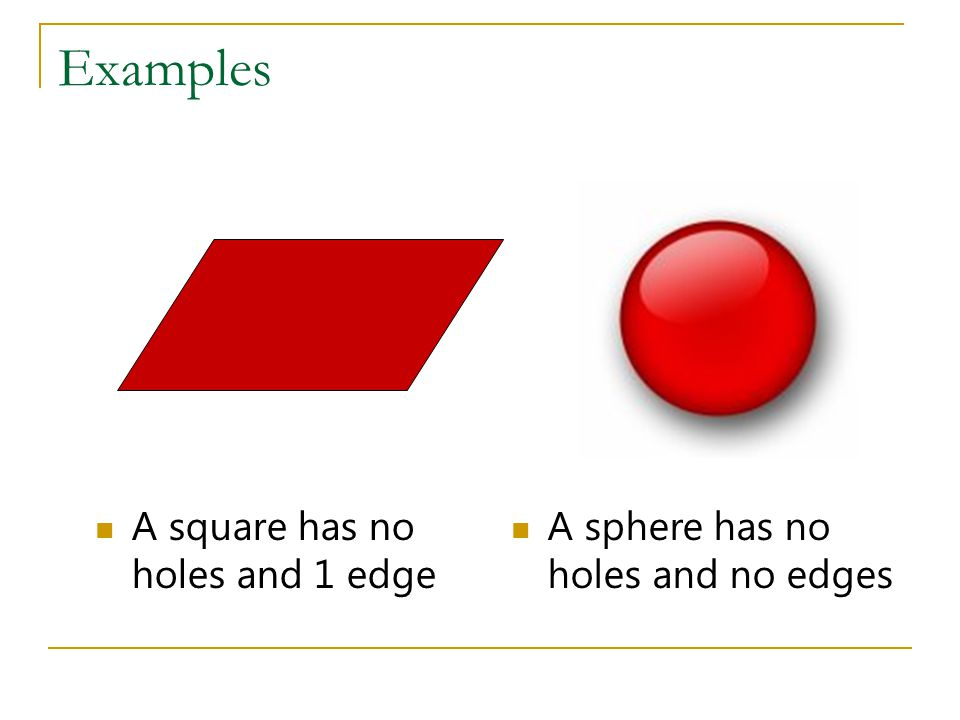 Examples A square has no holes and 1 edge