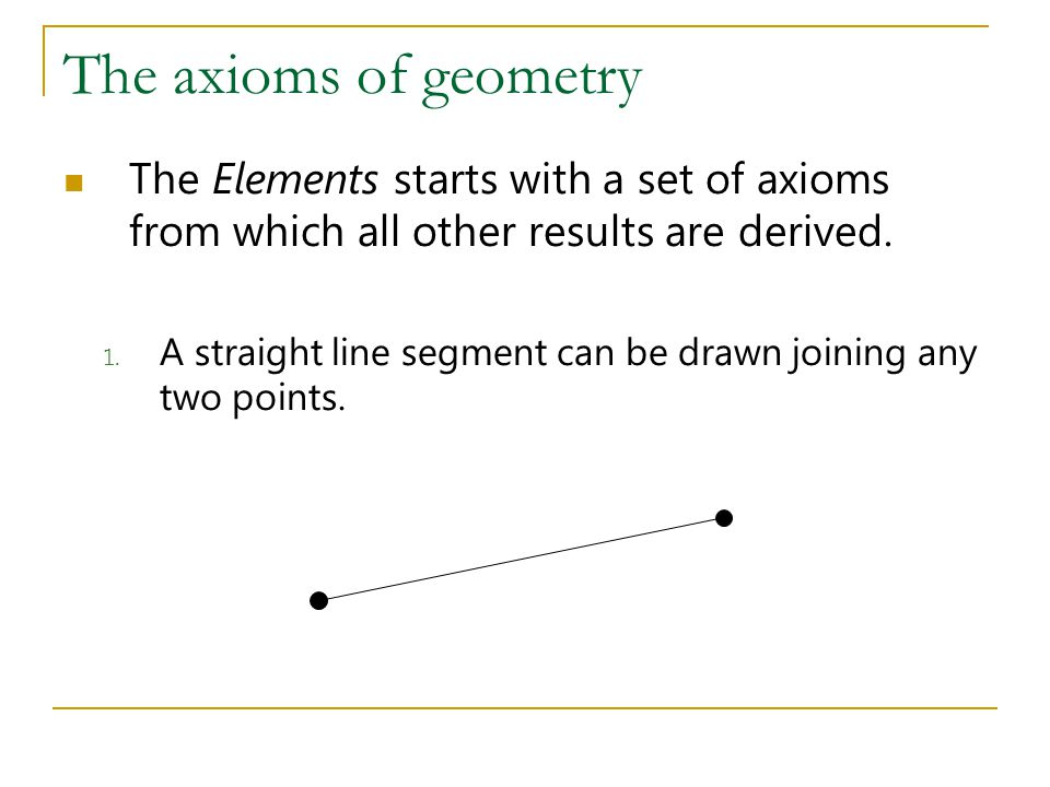 The axioms of geometry The Elements starts with a set of axioms from which all other results are derived.
