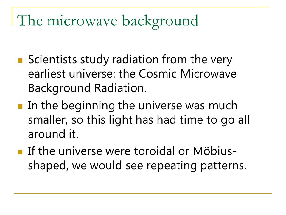 The microwave background