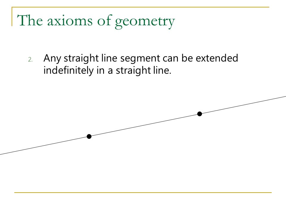 The axioms of geometry Any straight line segment can be extended indefinitely in a straight line.