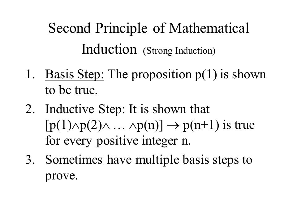 Second Principle of Mathematical Induction (Strong Induction)