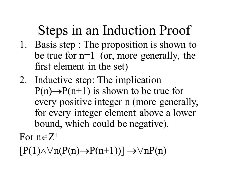Steps in an Induction Proof