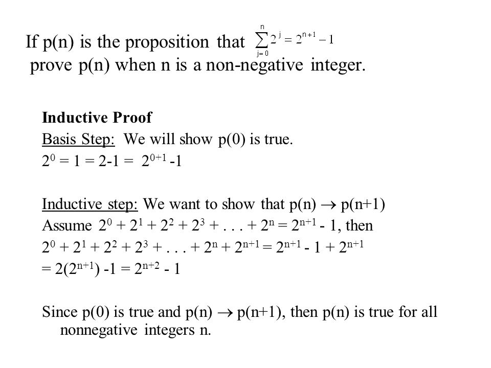 If p(n) is the proposition that prove p(n) when n is a non-negative integer.
