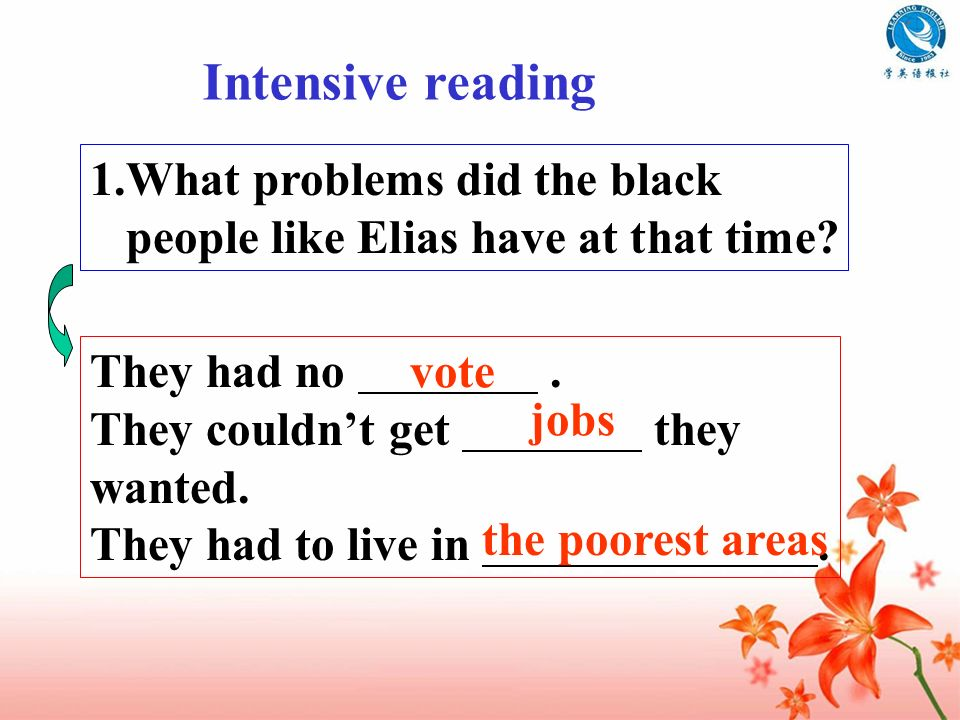 Intensive reading What problems did the black people like Elias have at that time They had no .