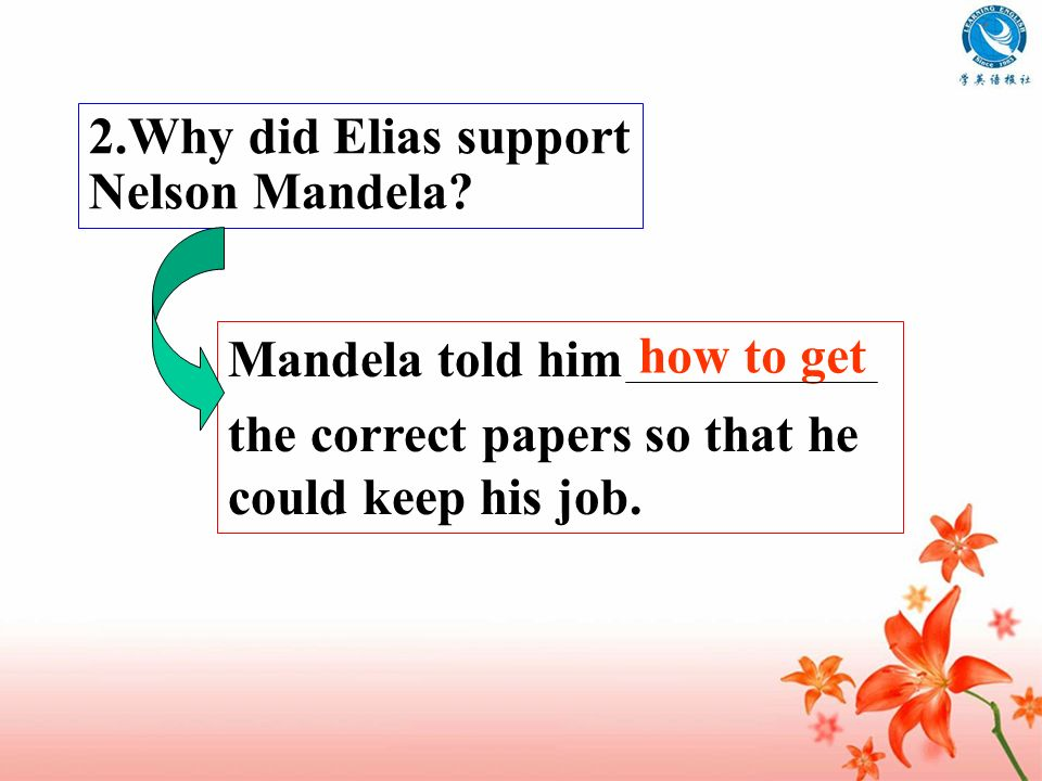 2.Why did Elias support Nelson Mandela
