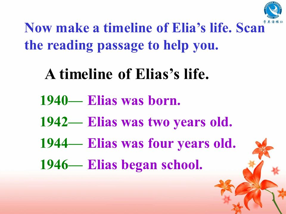 A timeline of Elias's life.