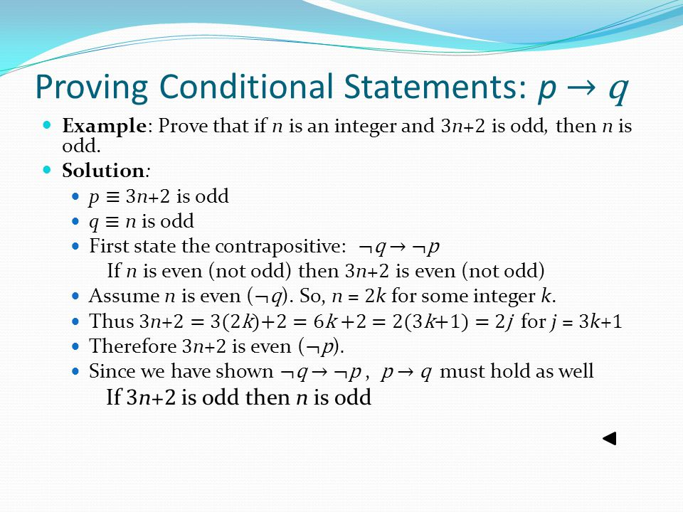 Proving Conditional Statements: p → q