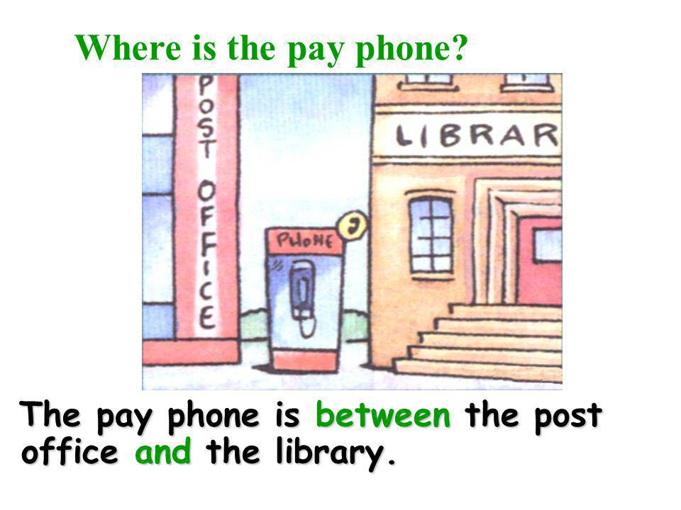Where is the pay phone The pay phone is between the post office and the library.