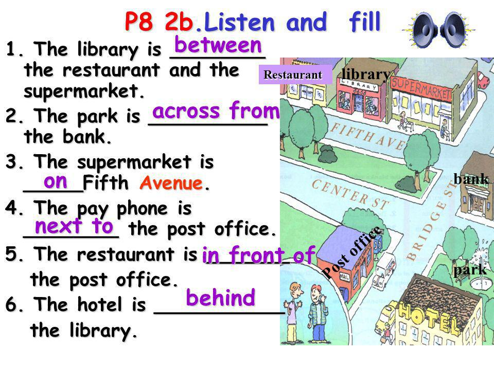 P8 2b.Listen and fill between across from on next to in front of