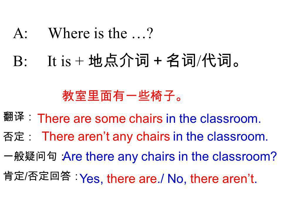 A: Where is the … B: It is + 地点介词+名词/代词。 教室里面有一些椅子。