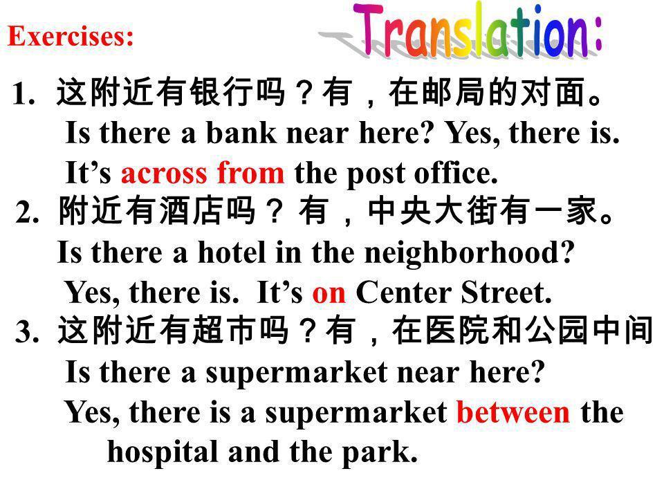 It's across from the post office. 2. 附近有酒店吗? 有,中央大街有一家。