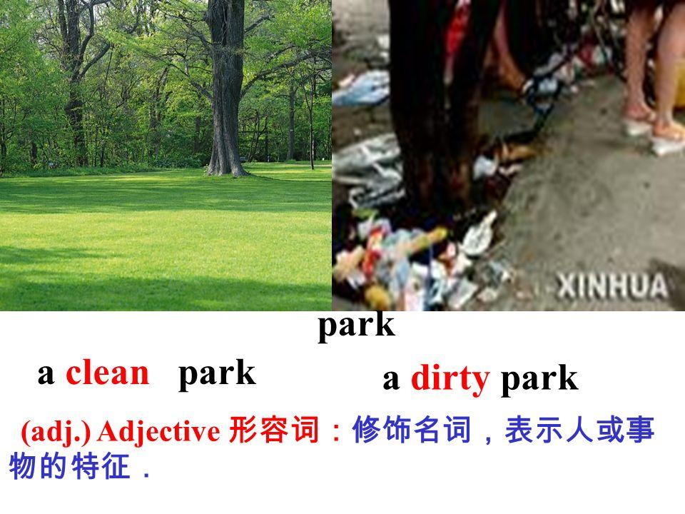 park a clean park a dirty park (adj.) Adjective 形容词:修饰名词,表示人或事物的特征.