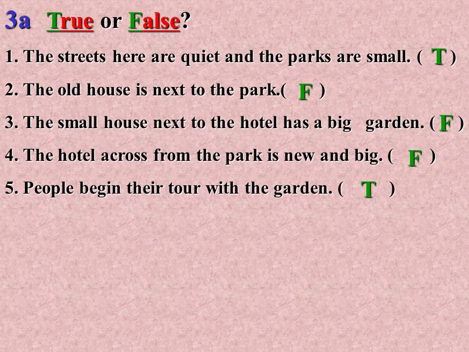 3a True or False 1. The streets here are quiet and the parks are small. ( ) 2. The old house is next to the park.( )