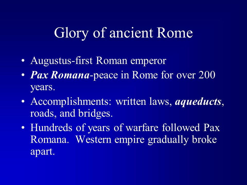 Glory of ancient Rome Augustus-first Roman emperor