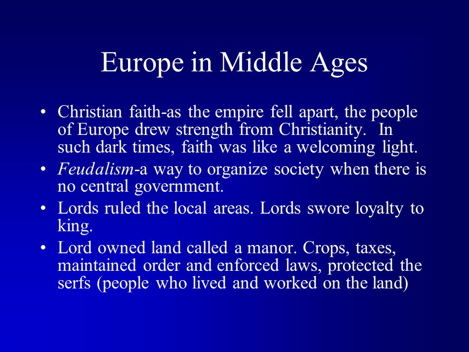 Europe in Middle Ages