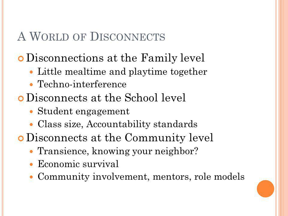 A World of Disconnects Disconnections at the Family level