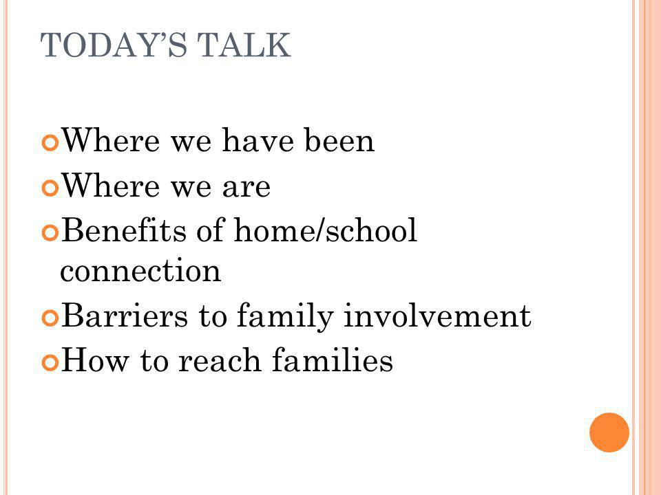 TODAY'S TALK Where we have been. Where we are. Benefits of home/school connection. Barriers to family involvement.