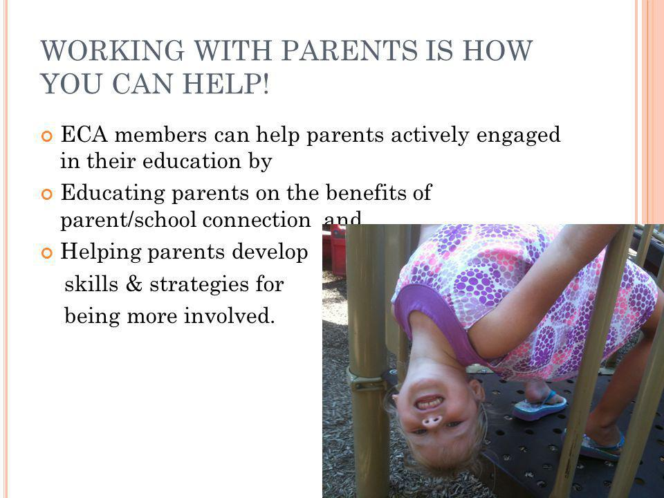 WORKING WITH PARENTS IS HOW YOU CAN HELP!