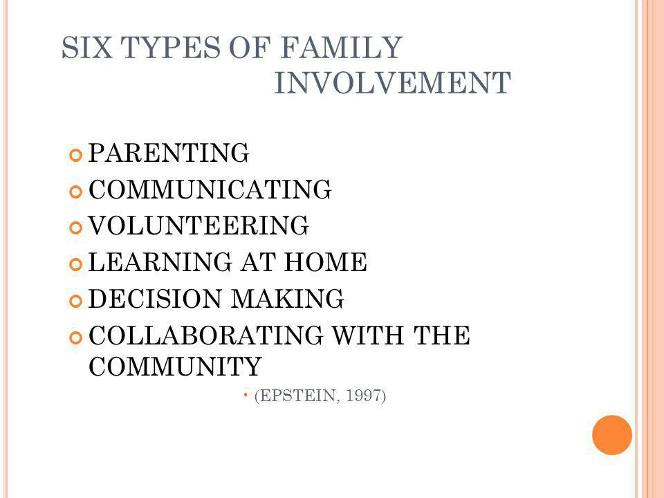 SIX TYPES OF FAMILY INVOLVEMENT