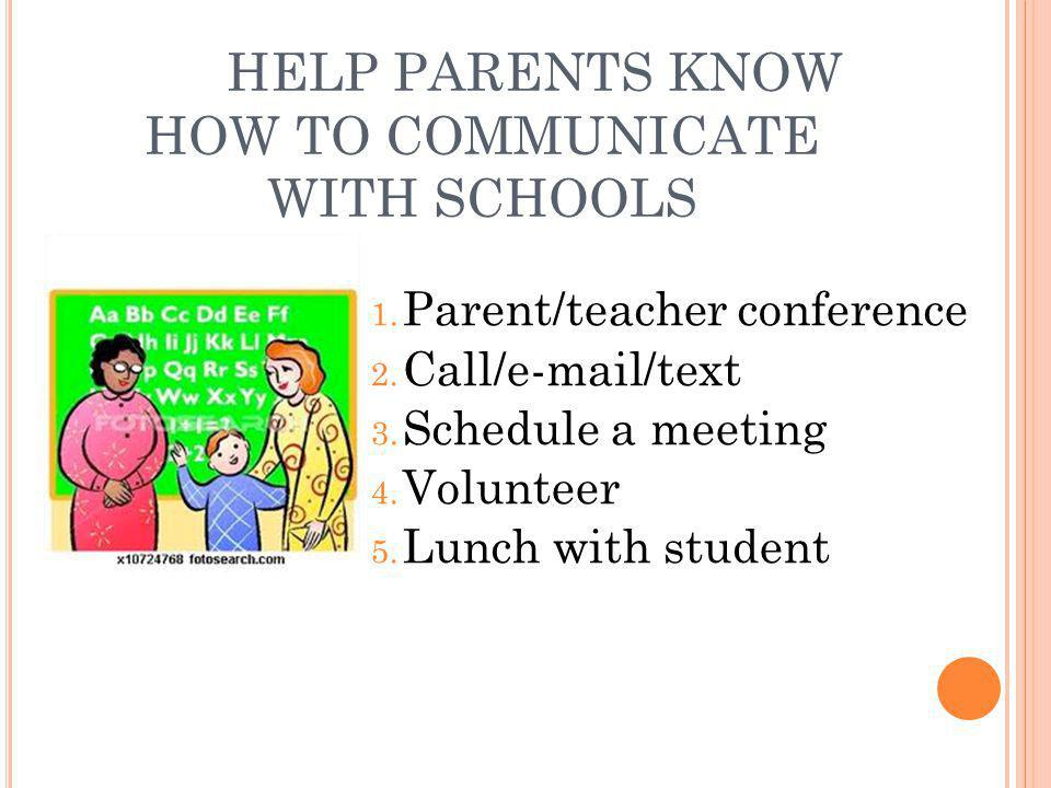 HELP PARENTS KNOW HOW TO COMMUNICATE WITH SCHOOLS