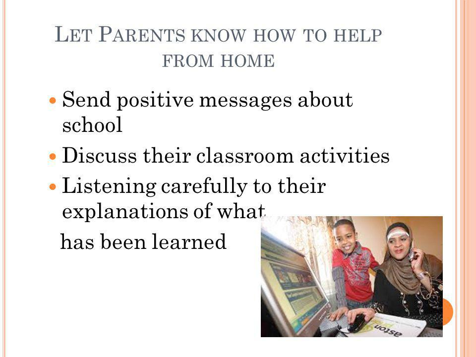 Let Parents know how to help from home