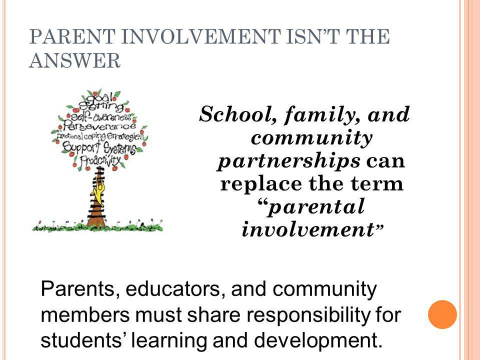 PARENT INVOLVEMENT ISN'T THE ANSWER