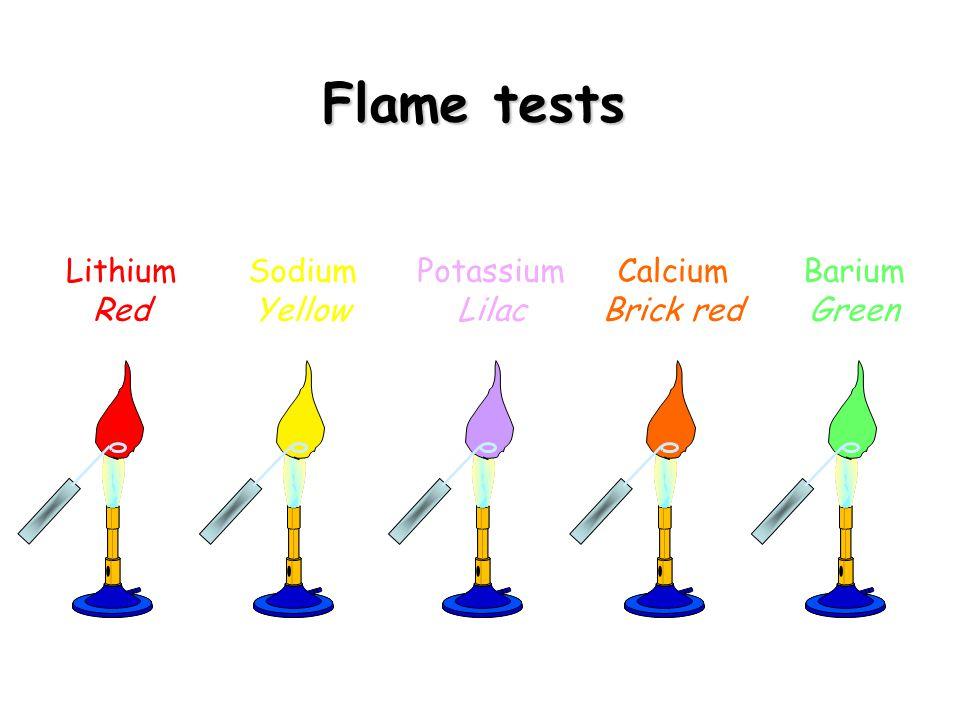 Flame tests Lithium Red Sodium Yellow Potassium Lilac Calcium
