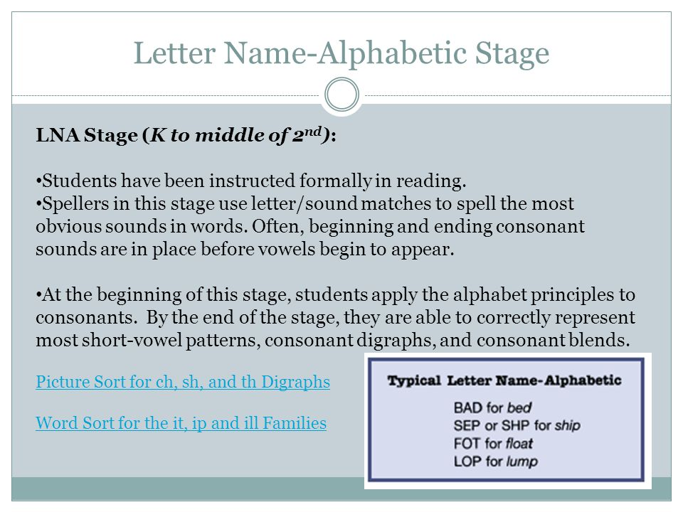 Letter Name-Alphabetic Stage