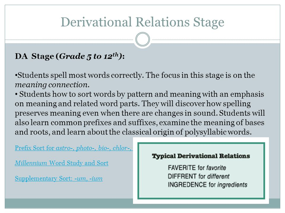 Derivational Relations Stage