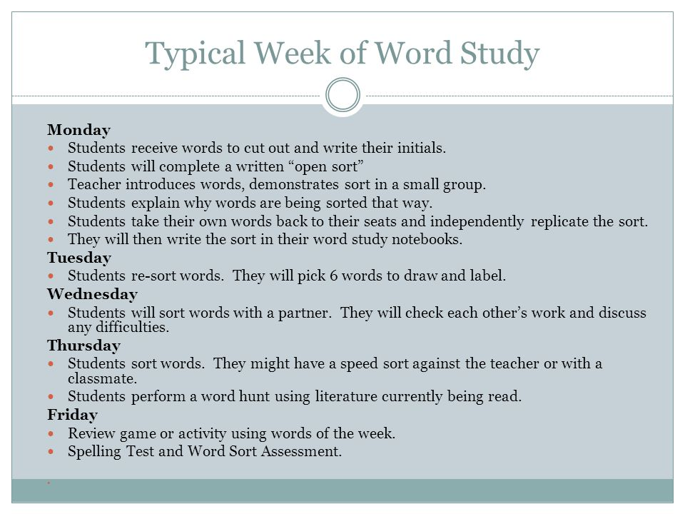Typical Week of Word Study