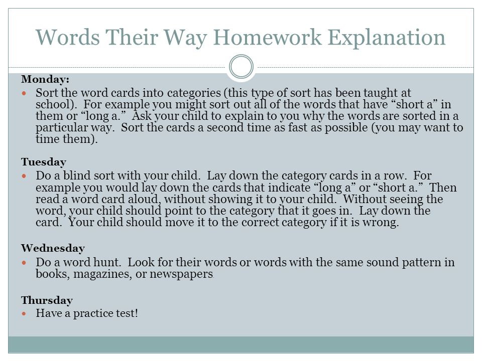 Words Their Way Homework Explanation