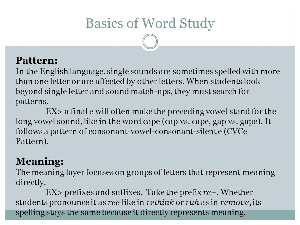 Basics of Word Study Pattern: Meaning: