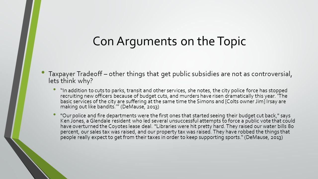Con Arguments on the Topic