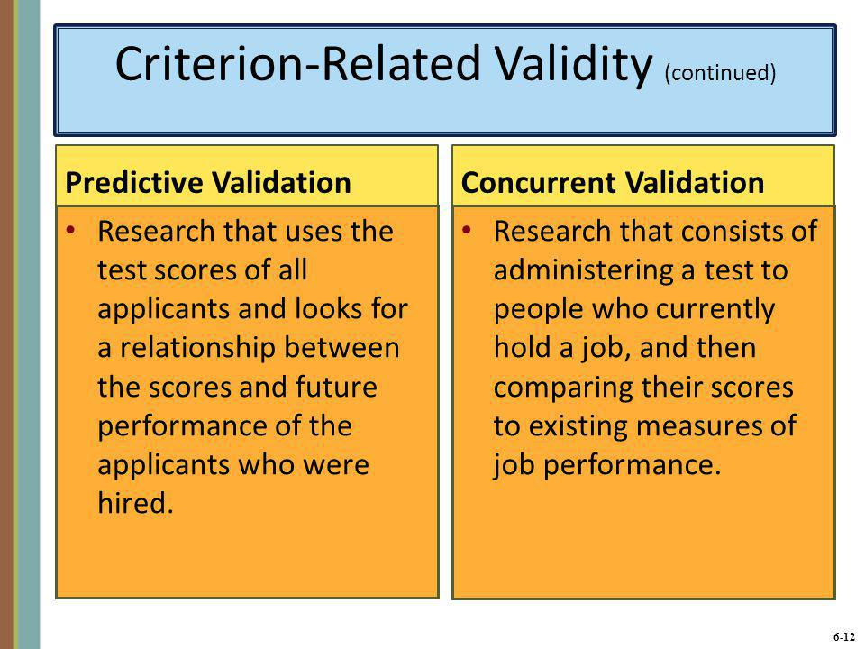 Criterion-Related Validity (continued)