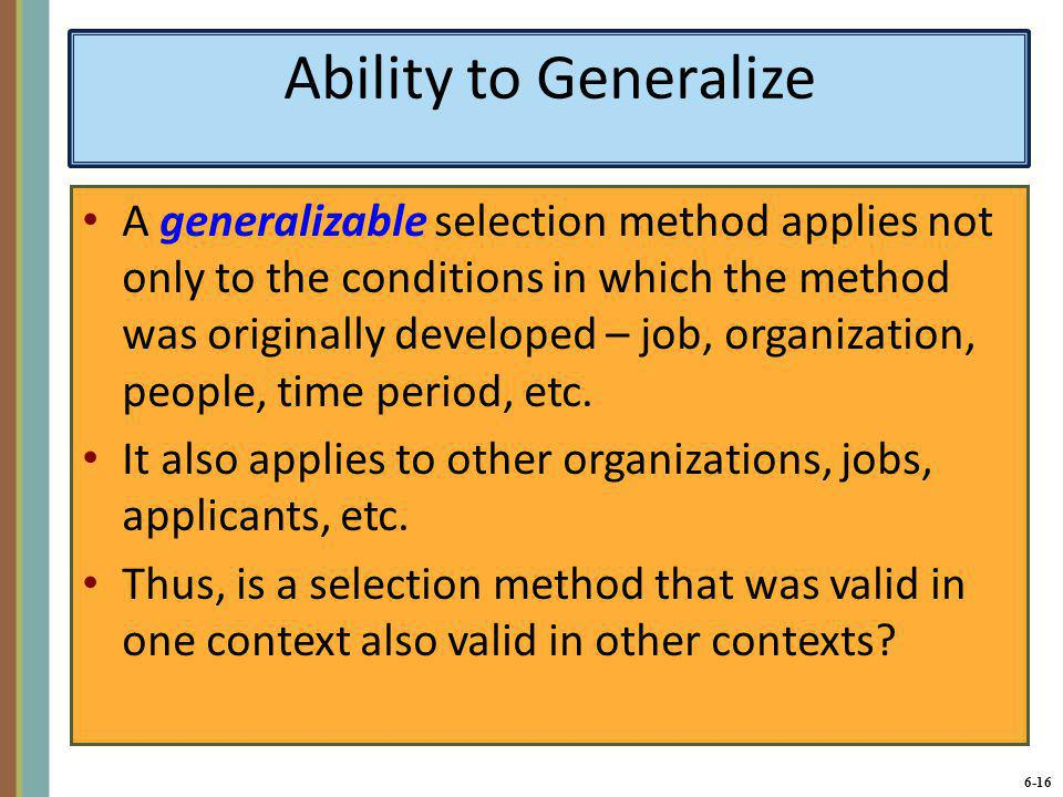 Ability to Generalize