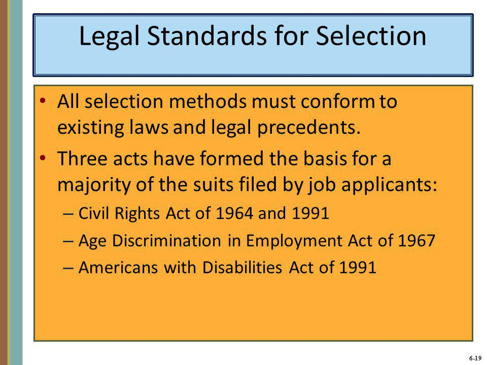 Legal Standards for Selection