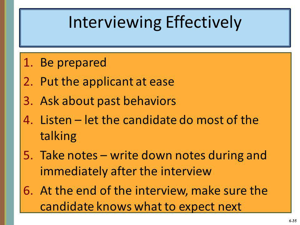 Interviewing Effectively