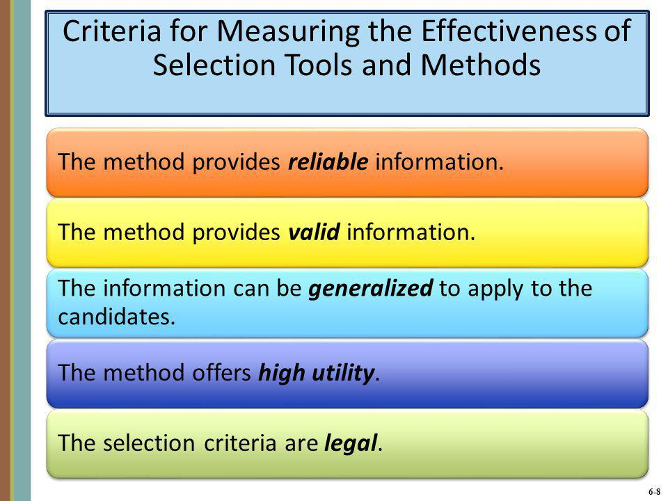 Criteria for Measuring the Effectiveness of Selection Tools and Methods