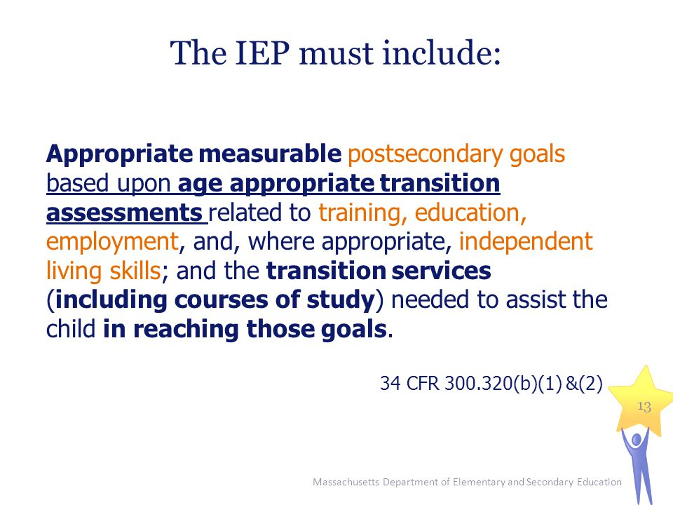 The IEP must include: Appropriate measurable postsecondary goals