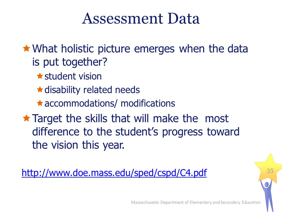 Assessment Data What holistic picture emerges when the data is put together student vision. disability related needs.