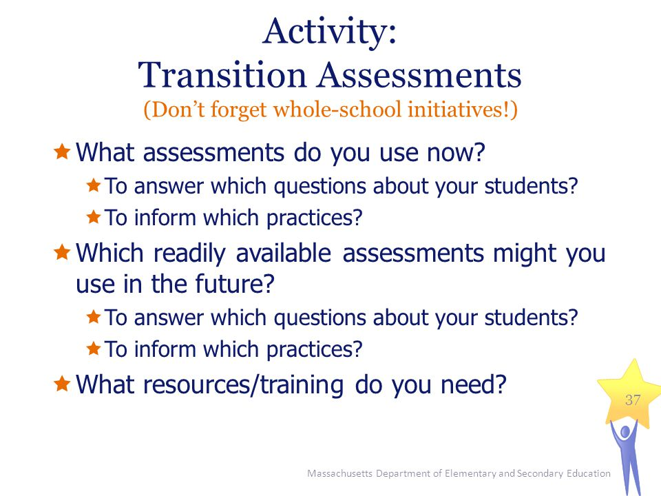 Activity: Transition Assessments (Don't forget whole-school initiatives!)